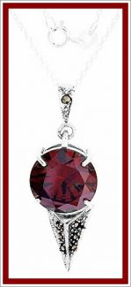09-0538 925 STERLING SILVER, NECKLACE  PENDANT W RED STONE