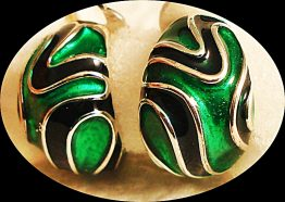 09-0543 925 STERLING GREEN  BLACK ENAMEL EARRINGS