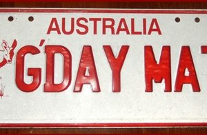 17-0344   LICENSE PLATE FROM AUSTRALIA GDAY MATE