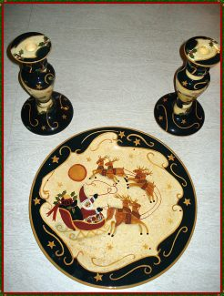 LANG CHRISTMAS HOLIDAY CONSOLE PLATE / CANDLE HOLDERS 10-0186