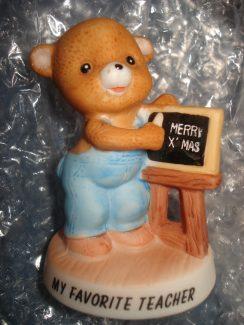 "BEAR FIGURINE ""MY FAVORITE TEACHER"" MERRY CHRISTMAS by ENESCO 10-0248"