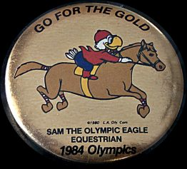 """1984 """"GO FOR THE GOLD"""" OLYMPIC HAT PIN: EQUESTRIAN 12-0134"""