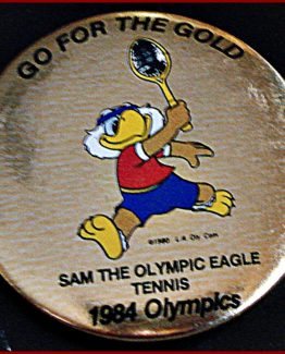 1984 GO FOR THE GOLD OLYMPIC HAT PIN: TENNIS
