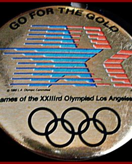 "1984 ""GO FOR THE GOLD"" OFFICIAL OLYMPIC HAT PIN BACK BUTTON"