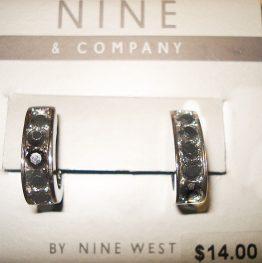 07-0444 NINE COMPANY SILVER AND BLACK BEADED EARRINGS
